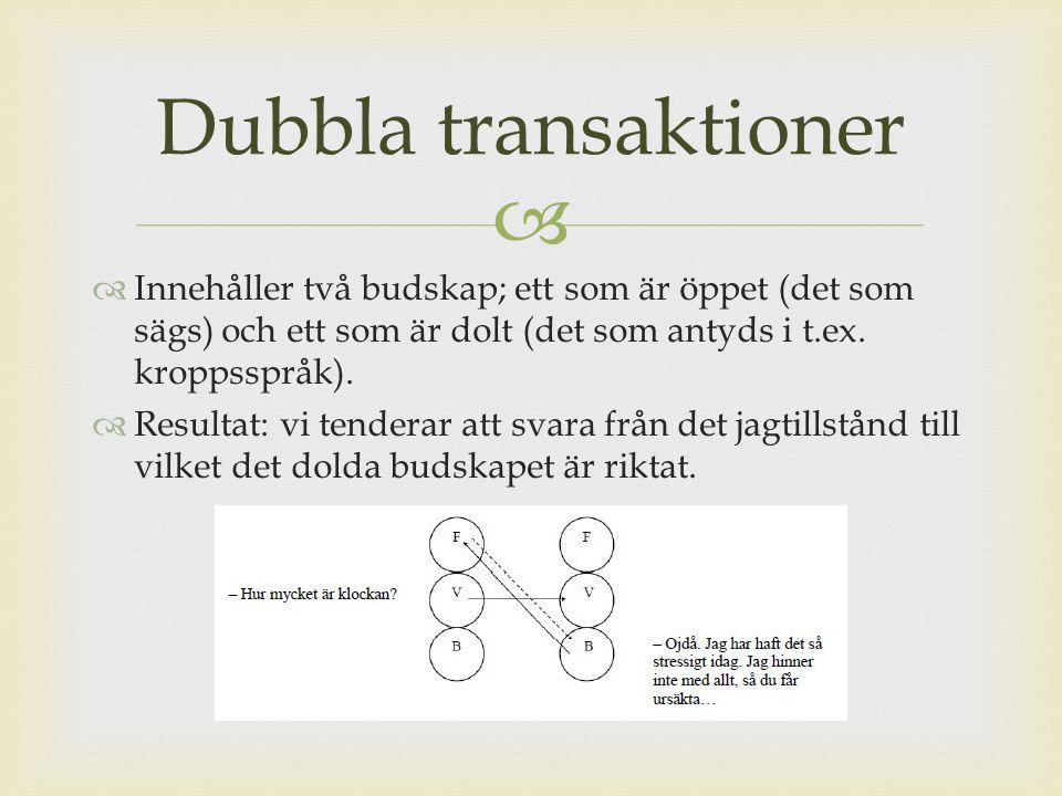 Dubbla transaktioner Innehåller två budskap; ett som är öppet (det som sägs) och ett som är dolt (det som antyds i t.ex. kroppsspråk).