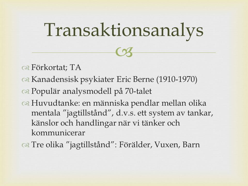 Transaktionsanalys Förkortat; TA