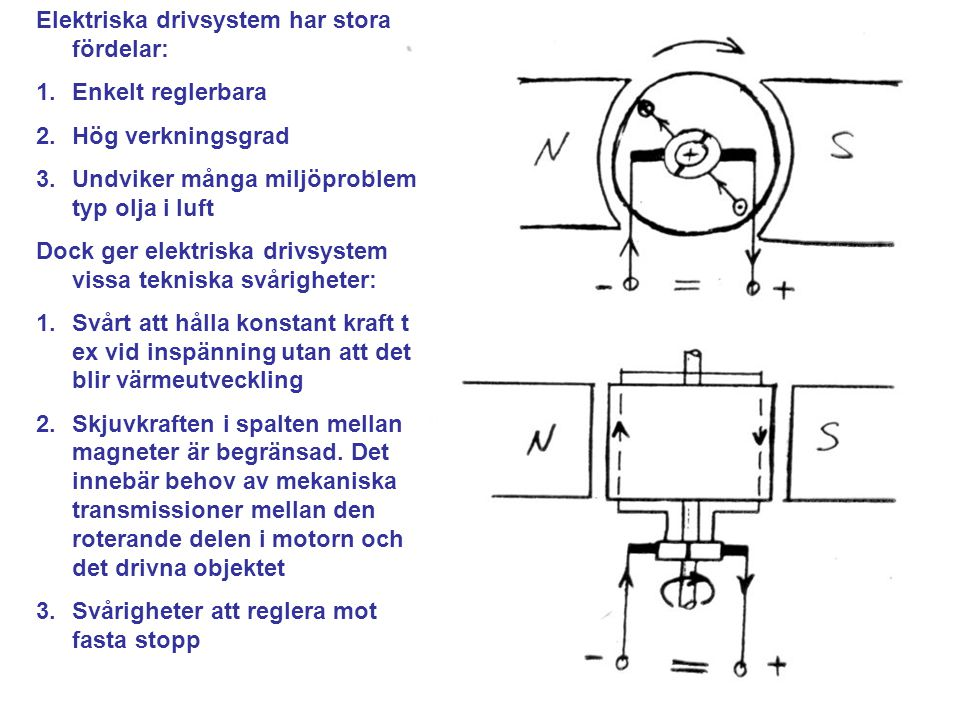Elektriska drivsystem har stora fördelar: