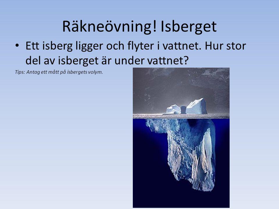 Räkneövning! Isberget Ett isberg ligger och flyter i vattnet. Hur stor del av isberget är under vattnet