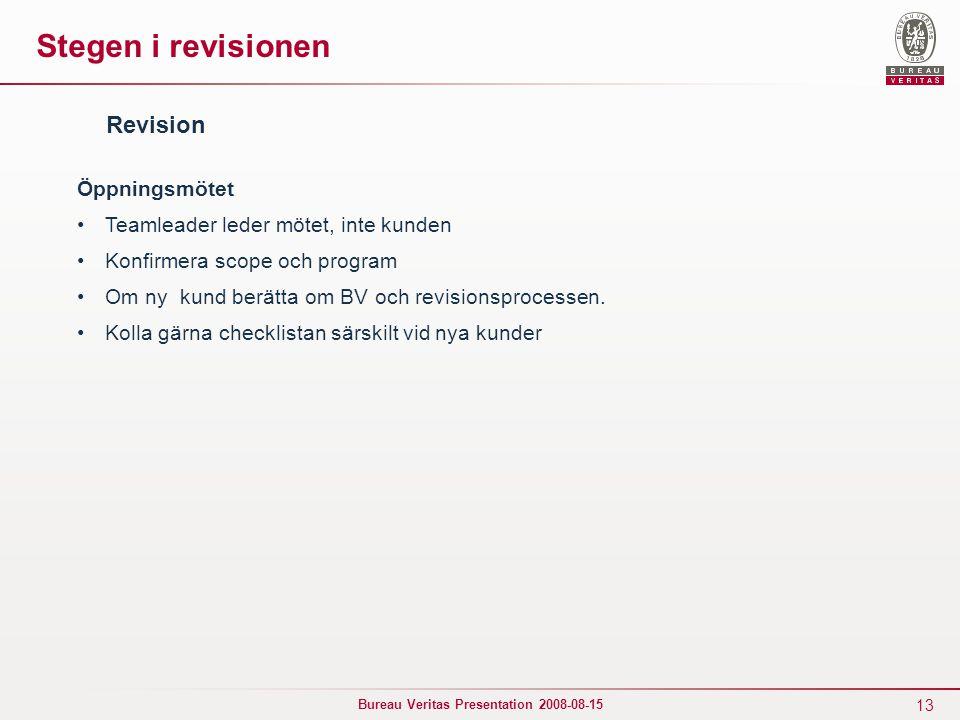 Stegen i revisionen Revision Öppningsmötet