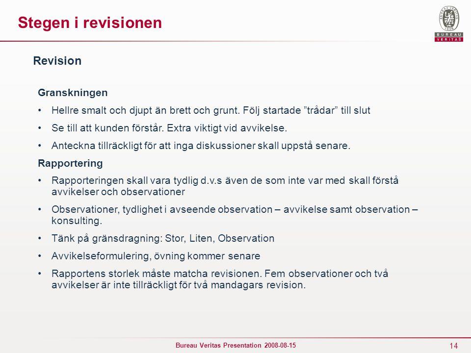 Stegen i revisionen Revision Granskningen