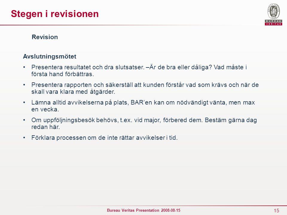 Stegen i revisionen Revision Avslutningsmötet