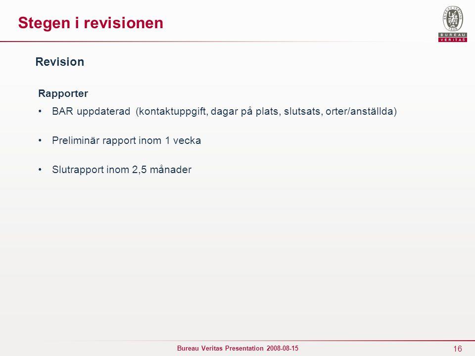 Stegen i revisionen Revision Rapporter