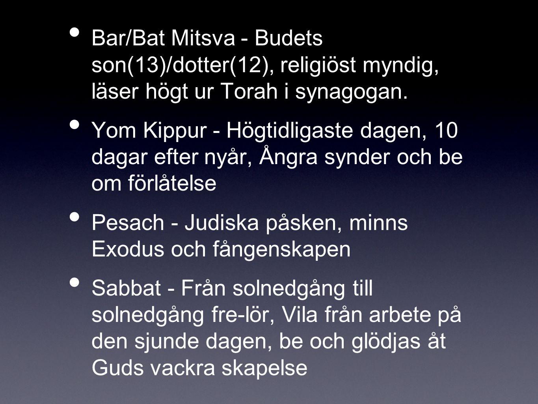 Bar/Bat Mitsva - Budets son(13)/dotter(12), religiöst myndig, läser högt ur Torah i synagogan.