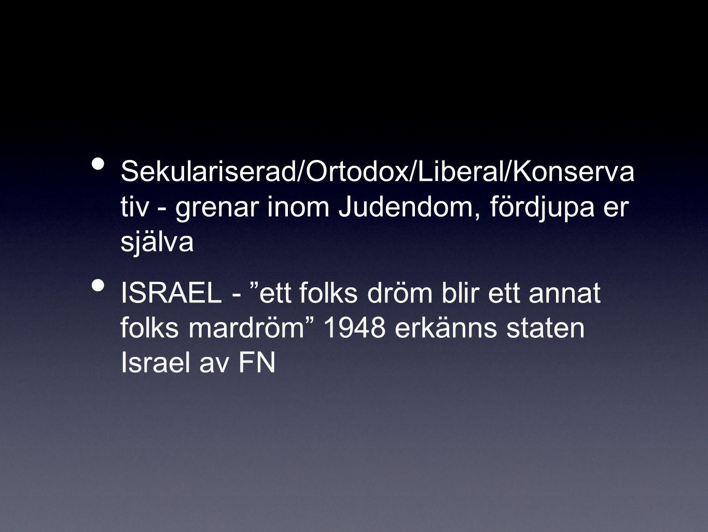 Sekulariserad/Ortodox/Liberal/Konserva tiv - grenar inom Judendom, fördjupa er själva