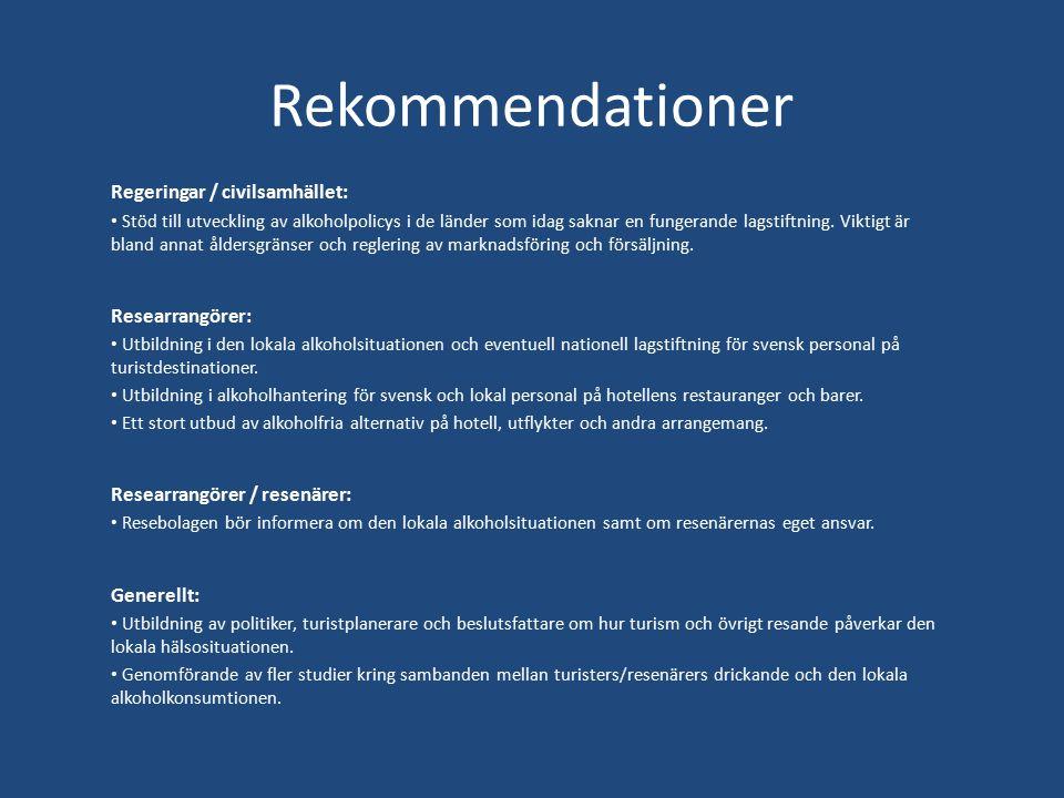 Rekommendationer Regeringar / civilsamhället: Researrangörer: