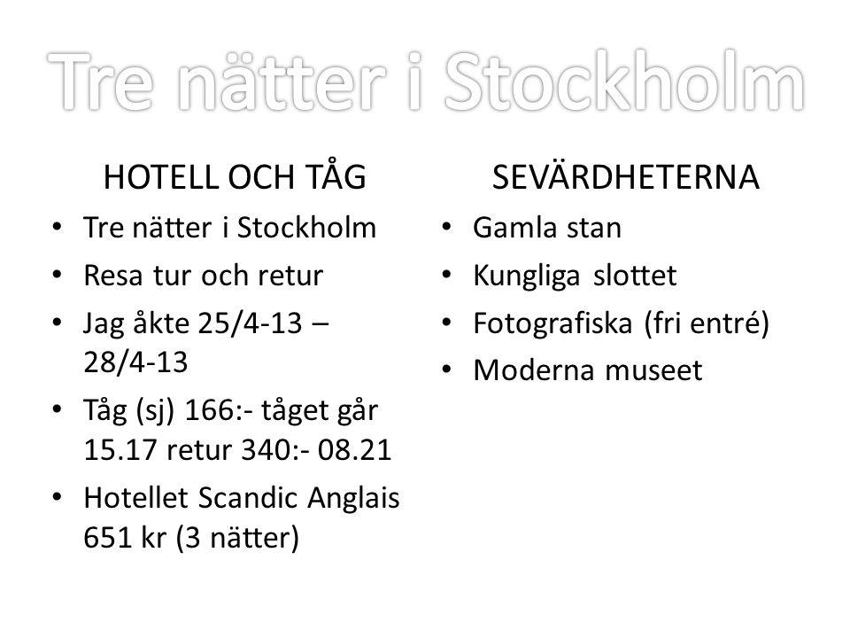 Tre nätter i Stockholm HOTELL OCH TÅG SEVÄRDHETERNA