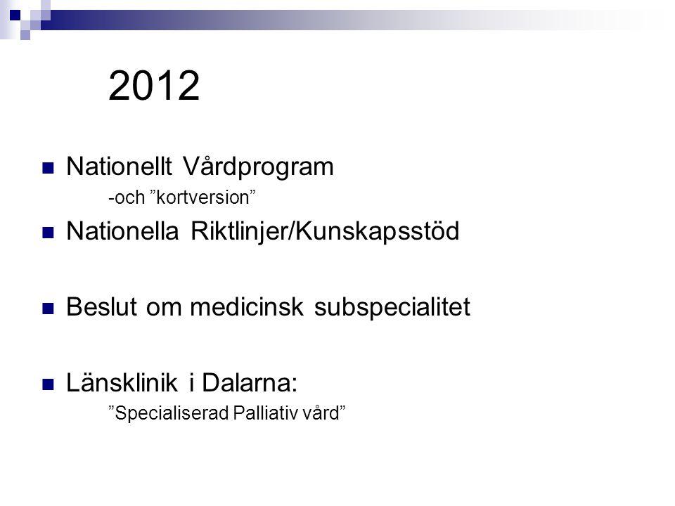 2012 Nationellt Vårdprogram Nationella Riktlinjer/Kunskapsstöd