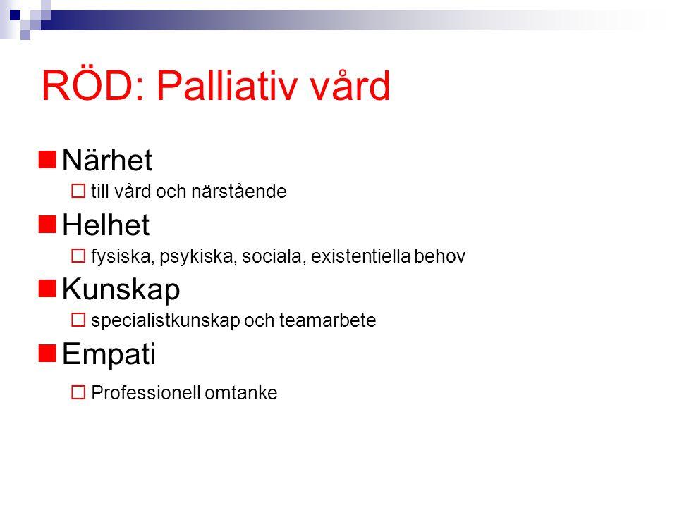 RÖD: Palliativ vård Närhet Helhet Kunskap Empati
