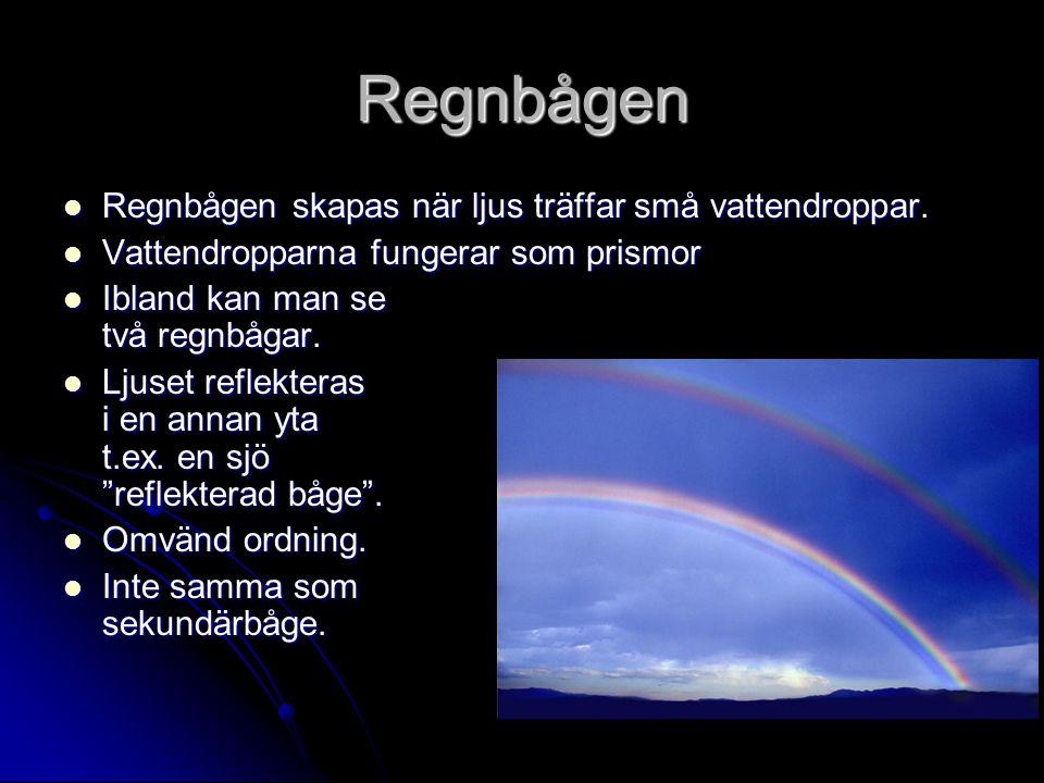 Regnbågen Regnbågen skapas när ljus träffar små vattendroppar.
