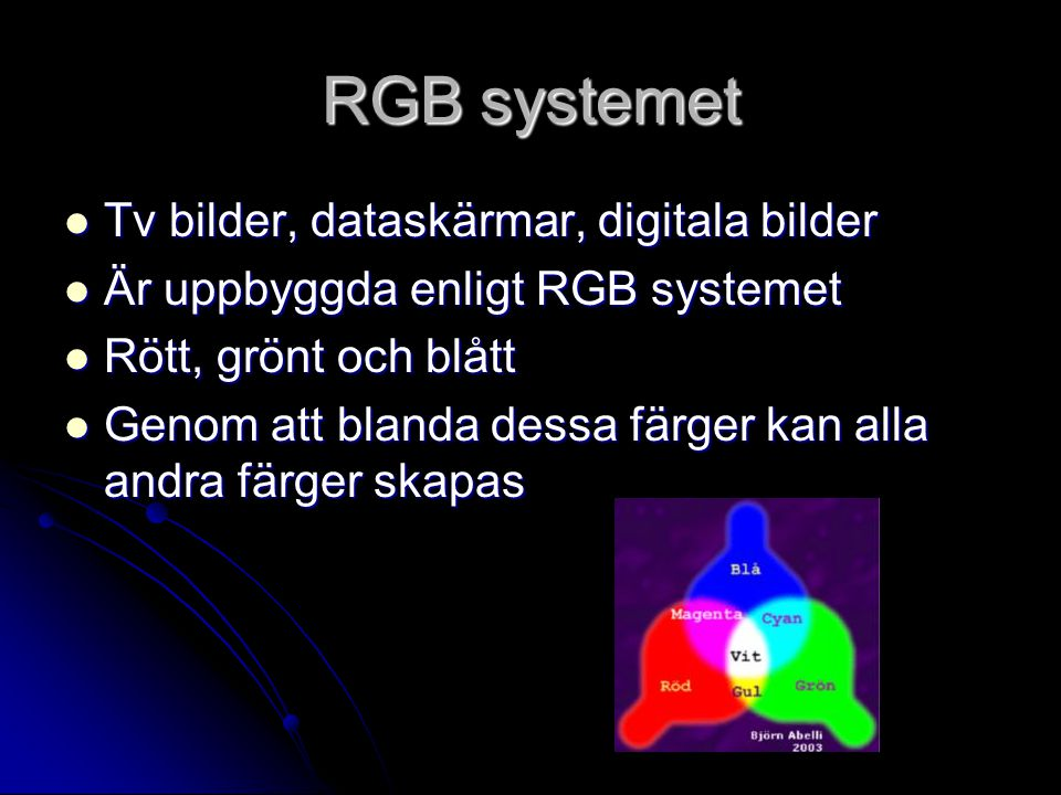 RGB systemet Tv bilder, dataskärmar, digitala bilder