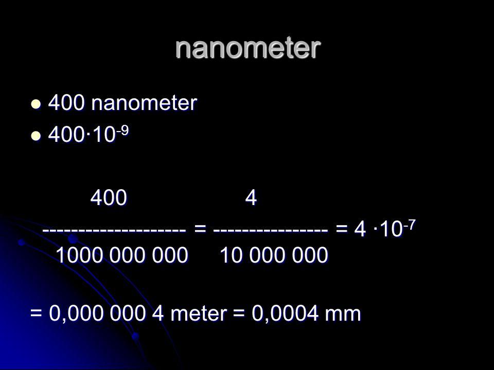nanometer 400 nanometer 400∙10-9 400 4