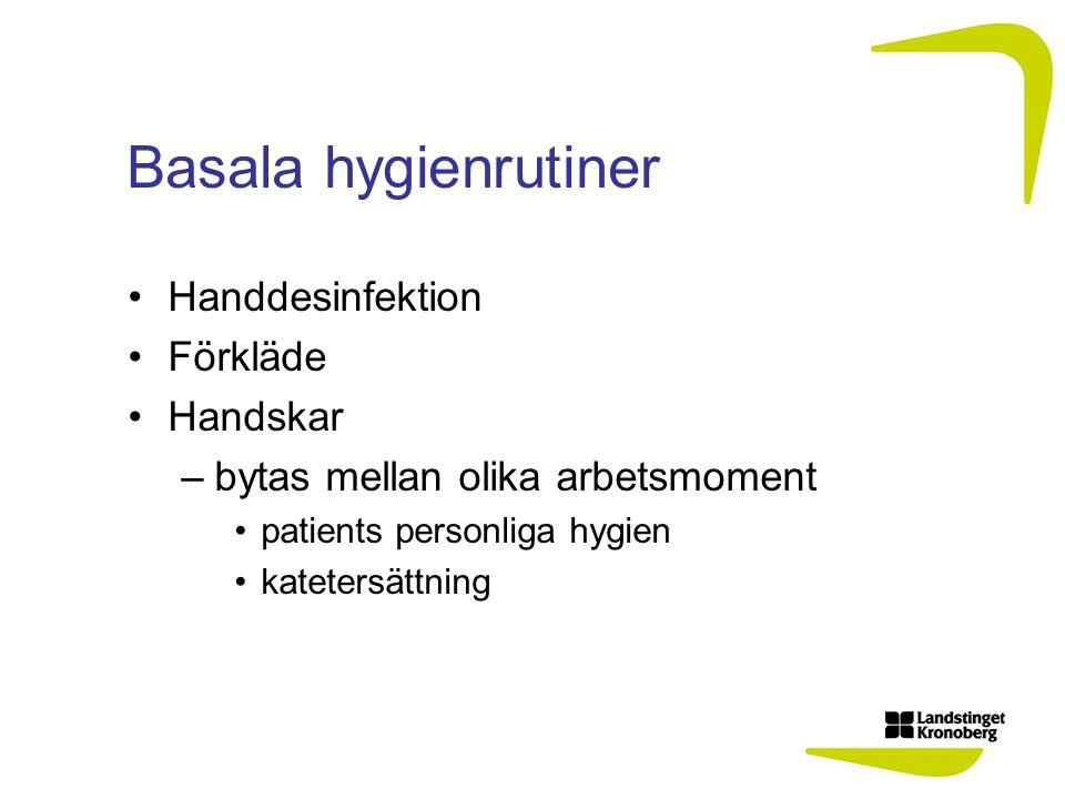 Basala hygienrutiner Handdesinfektion Förkläde Handskar