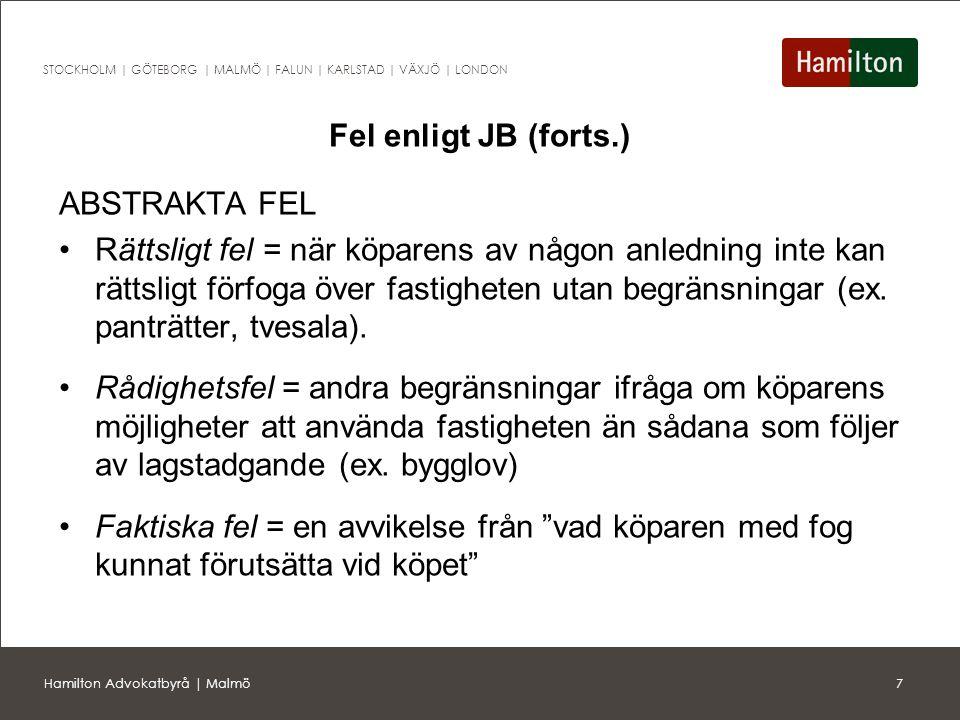 Fel enligt JB (forts.) ABSTRAKTA FEL.