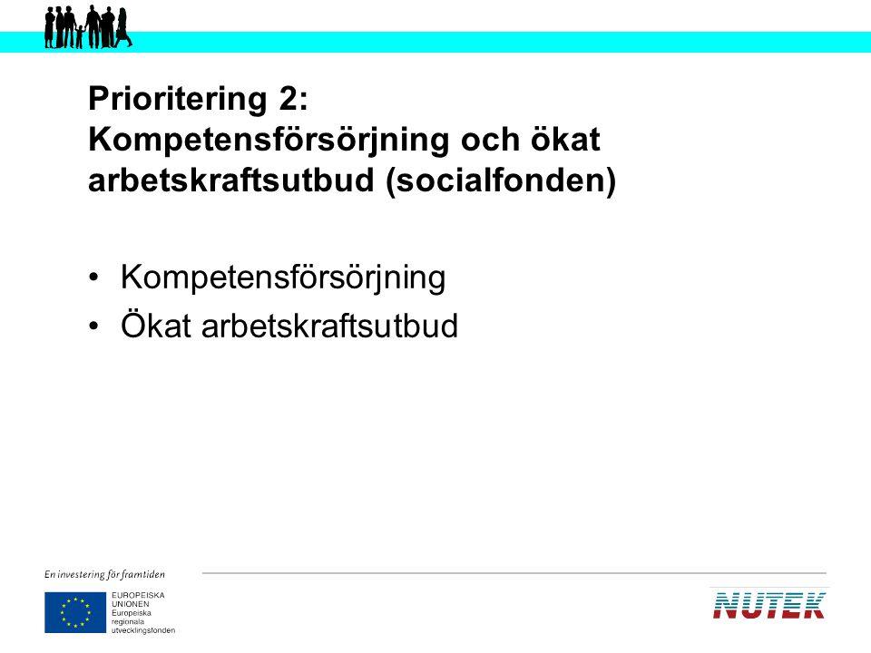 Prioritering 2: Kompetensförsörjning och ökat arbetskraftsutbud (socialfonden)
