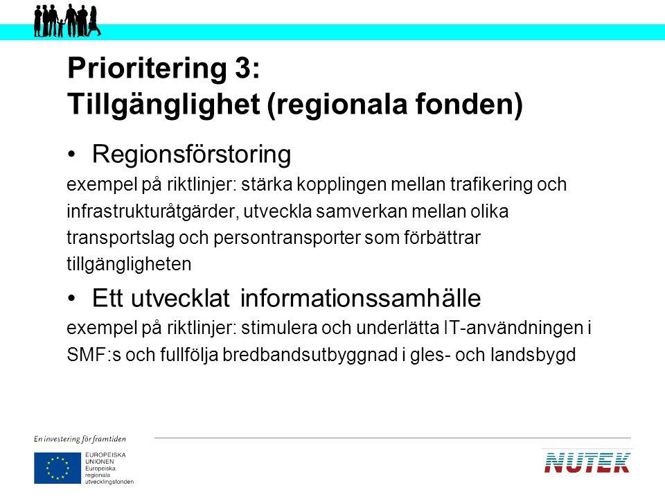 Prioritering 3: Tillgänglighet (regionala fonden)