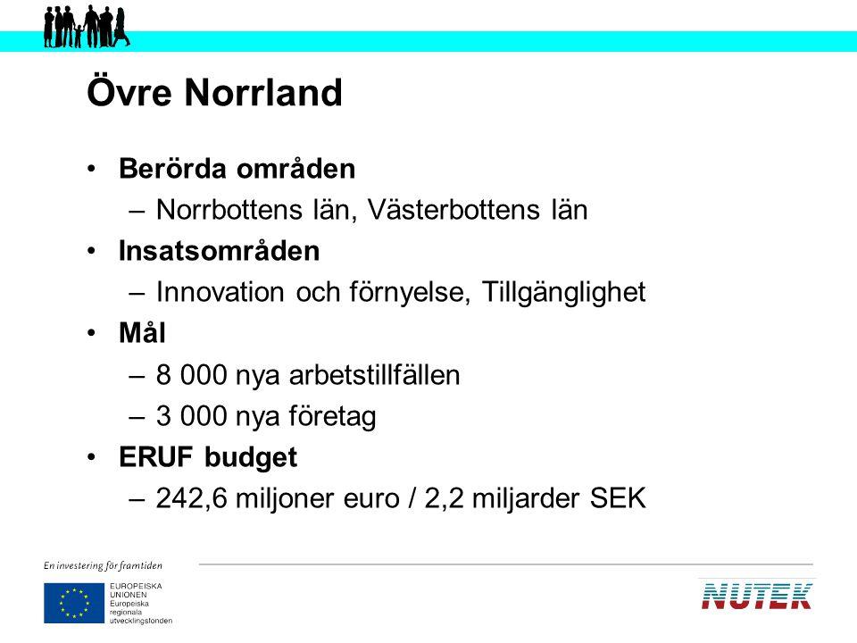 Övre Norrland Berörda områden Norrbottens län, Västerbottens län