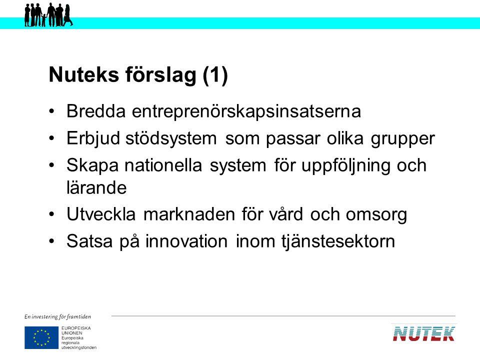 Nuteks förslag (1) Bredda entreprenörskapsinsatserna