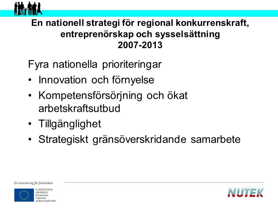 Fyra nationella prioriteringar Innovation och förnyelse