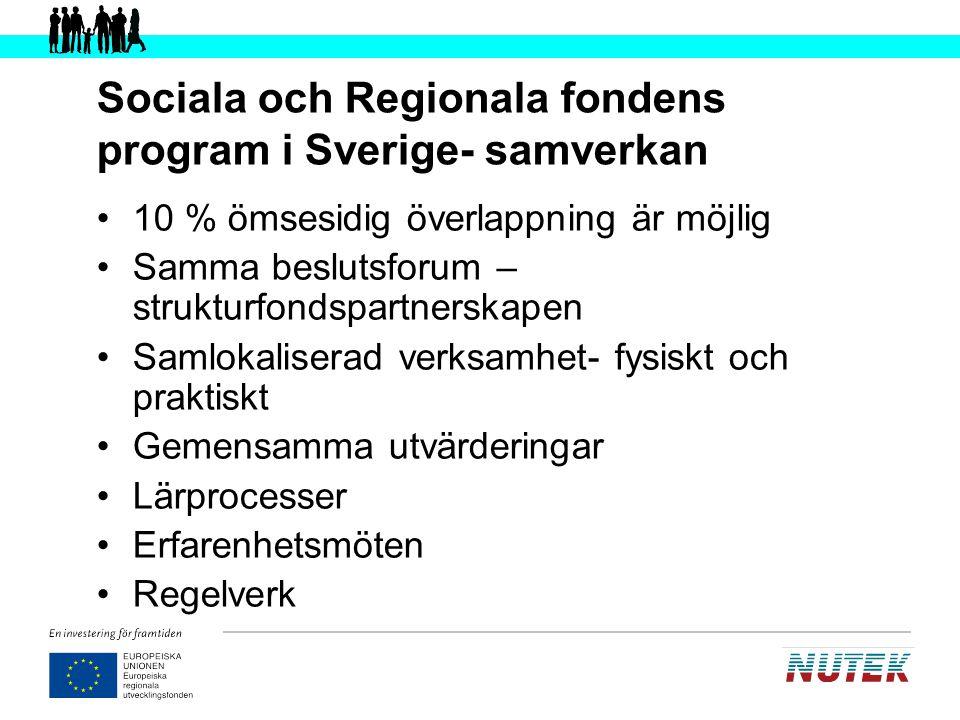 Sociala och Regionala fondens program i Sverige- samverkan