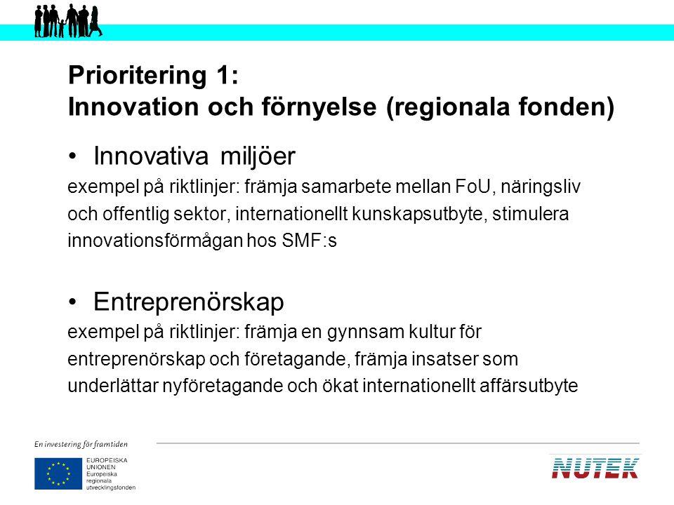 Prioritering 1: Innovation och förnyelse (regionala fonden)