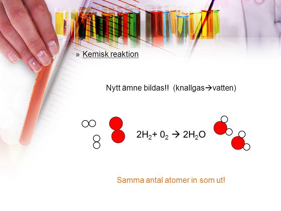 2H2+ 02  2H2O Kemisk reaktion Nytt ämne bildas!! (knallgasvatten)