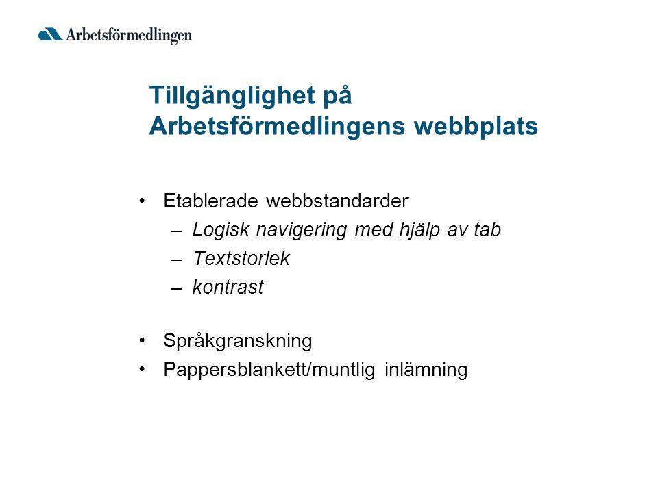 Tillgänglighet på Arbetsförmedlingens webbplats