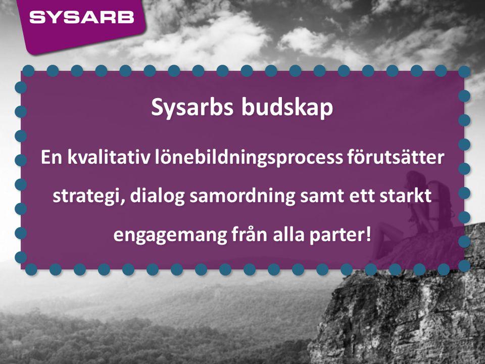 Sysarbs budskap En kvalitativ lönebildningsprocess förutsätter strategi, dialog samordning samt ett starkt engagemang från alla parter!
