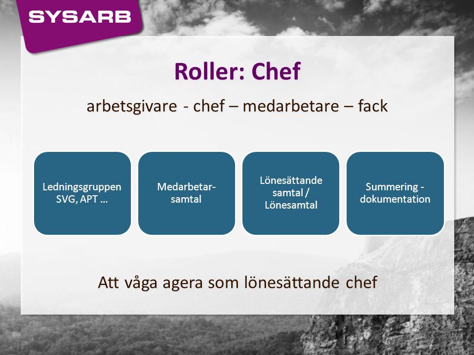 Roller: Chef arbetsgivare - chef – medarbetare – fack