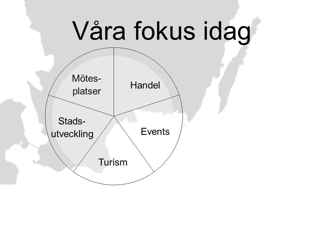 Våra fokus idag Mötes- platser Handel Stads- utveckling Events Turism
