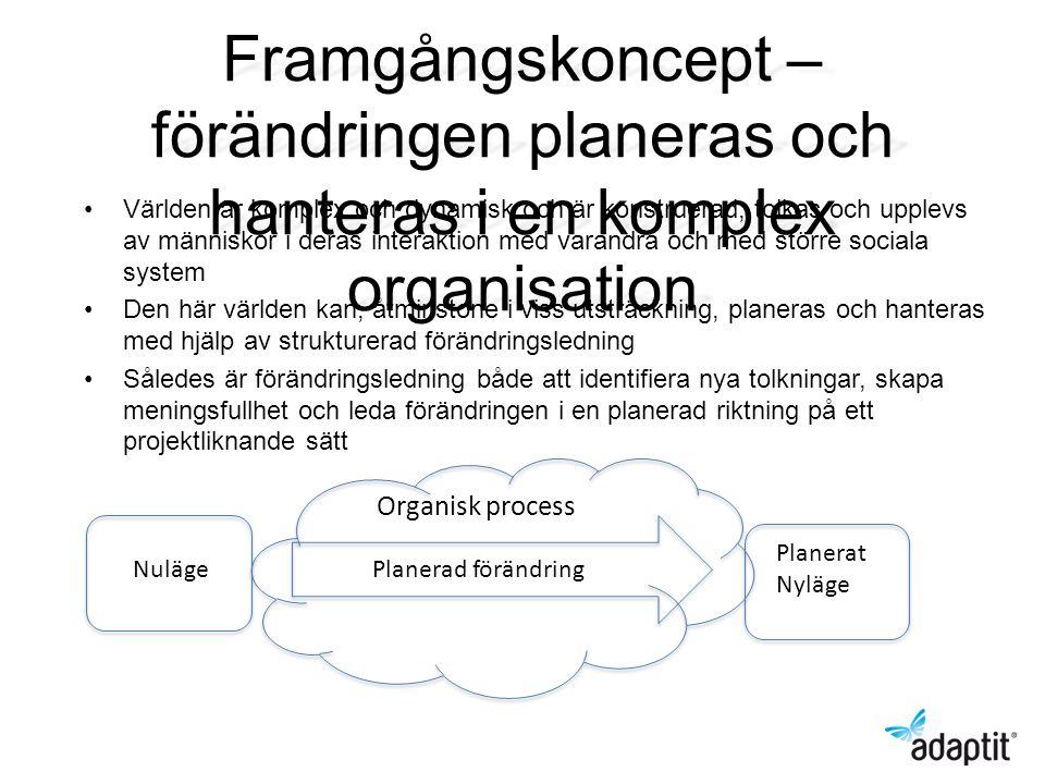 Framgångskoncept – förändringen planeras och hanteras i en komplex organisation