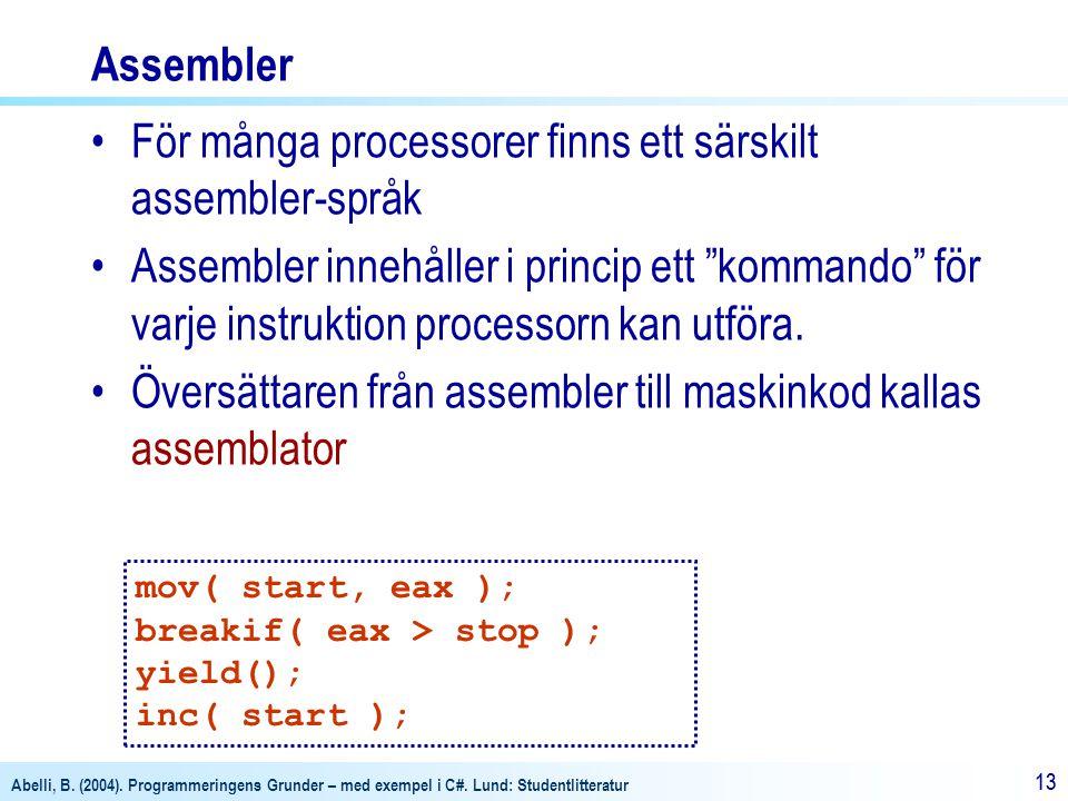 För många processorer finns ett särskilt assembler-språk