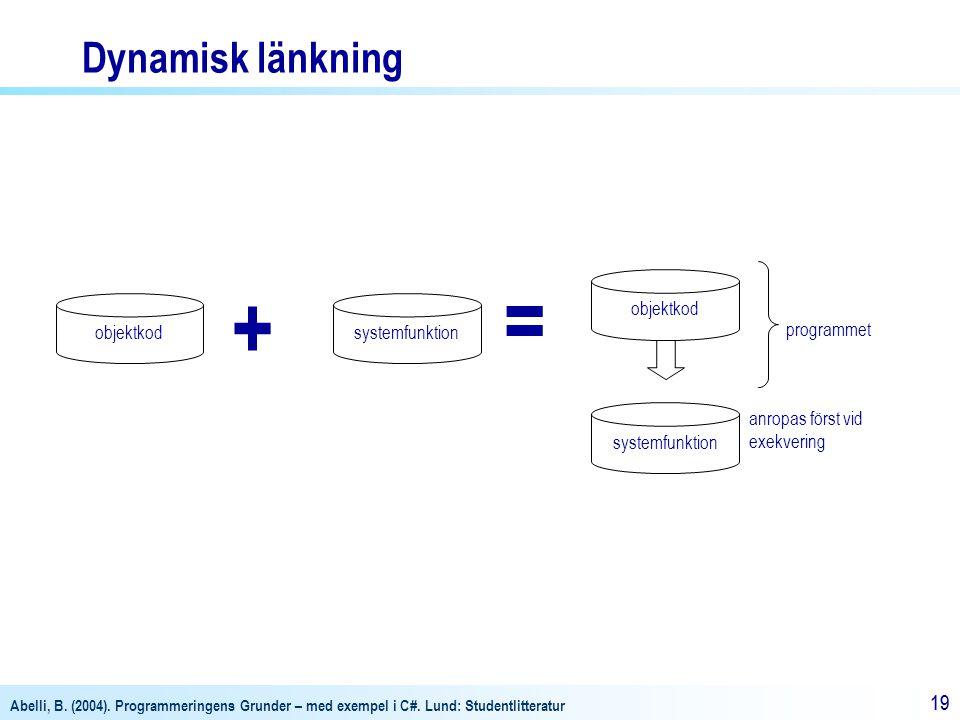 = + Dynamisk länkning objektkod objektkod systemfunktion programmet