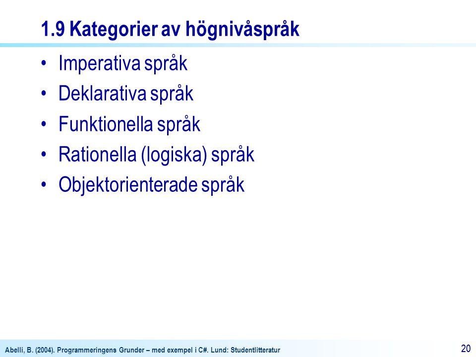 1.9 Kategorier av högnivåspråk