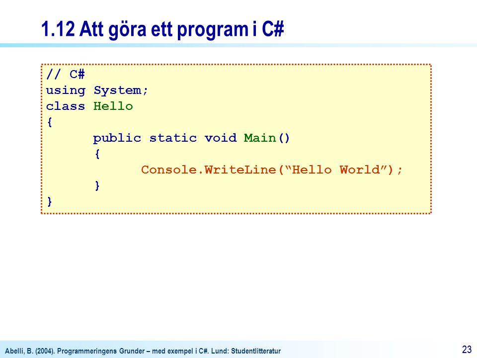 1.12 Att göra ett program i C#