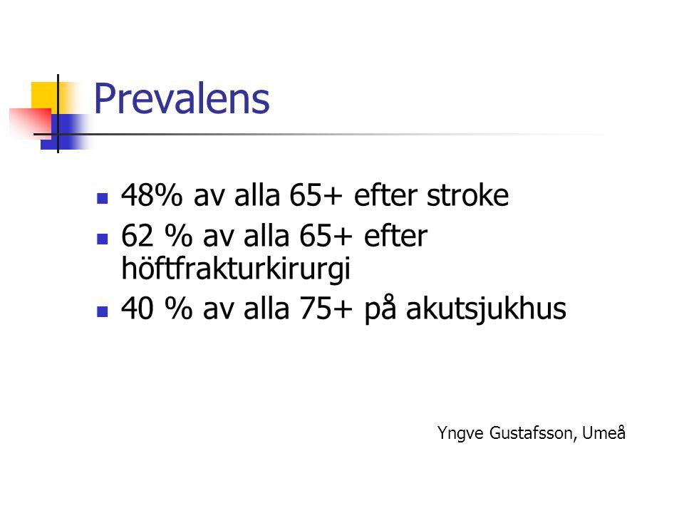 Prevalens 48% av alla 65+ efter stroke