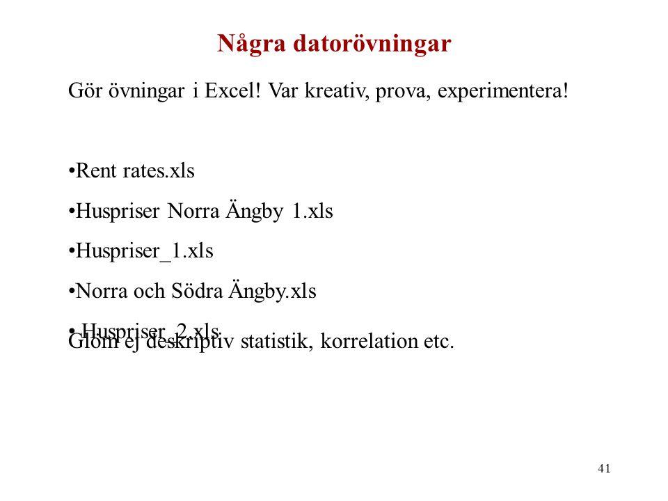 Några datorövningar Gör övningar i Excel! Var kreativ, prova, experimentera! Rent rates.xls. Huspriser Norra Ängby 1.xls.