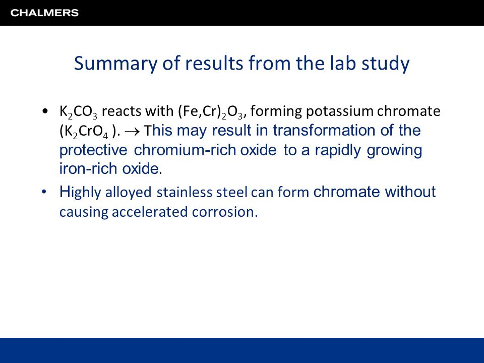 Summary of results from the lab study