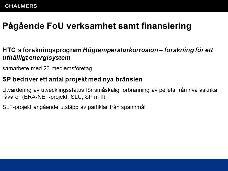 Pågående FoU verksamhet samt finansiering