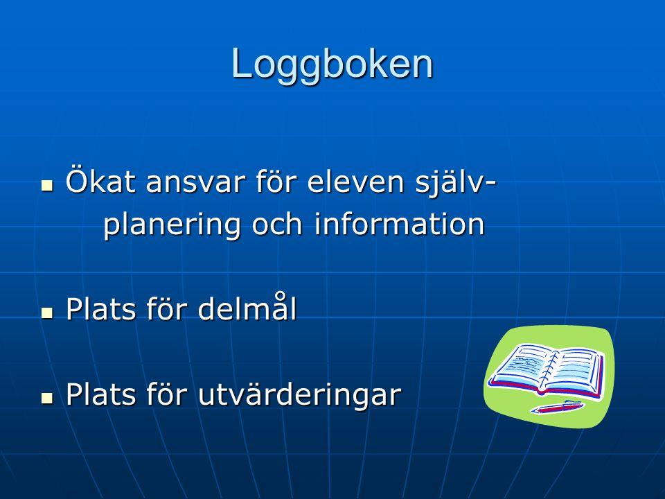 Loggboken Ökat ansvar för eleven själv- planering och information