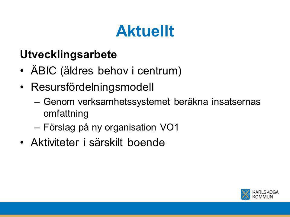 Aktuellt Utvecklingsarbete ÄBIC (äldres behov i centrum)