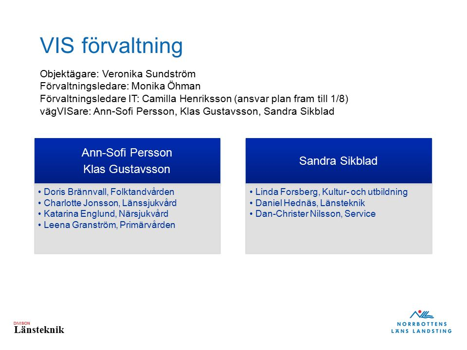 VIS förvaltning Ann-Sofi Persson Sandra Sikblad Klas Gustavsson