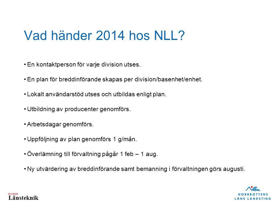 Vad händer 2014 hos NLL En kontaktperson för varje division utses.