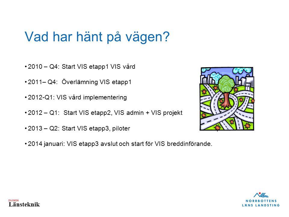 Vad har hänt på vägen 2010 – Q4: Start VIS etapp1 VIS vård