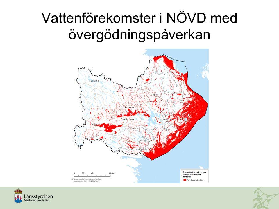 Vattenförekomster i NÖVD med övergödningspåverkan