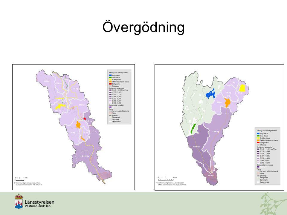 Övergödning Övergödning förekommer i hela kommunen, förutom högst upp i källflödena (försurning istället).