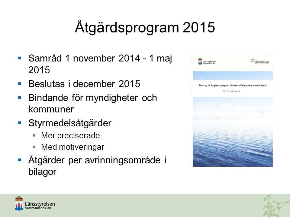 Åtgärdsprogram 2015 Samråd 1 november 2014 - 1 maj 2015