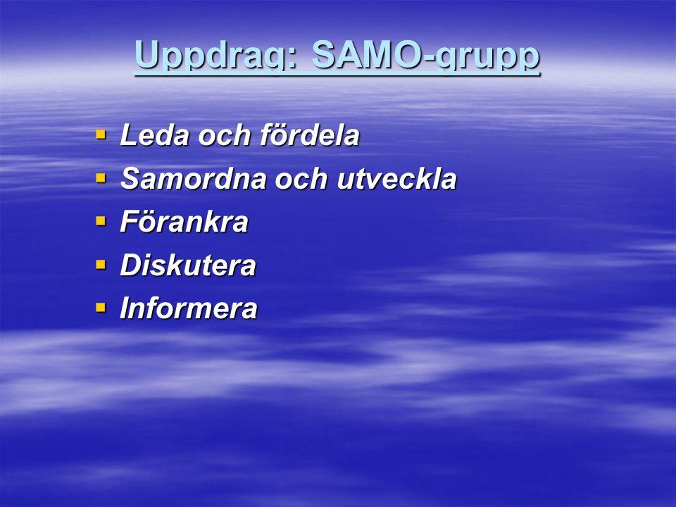 Uppdrag: SAMO-grupp Leda och fördela Samordna och utveckla Förankra