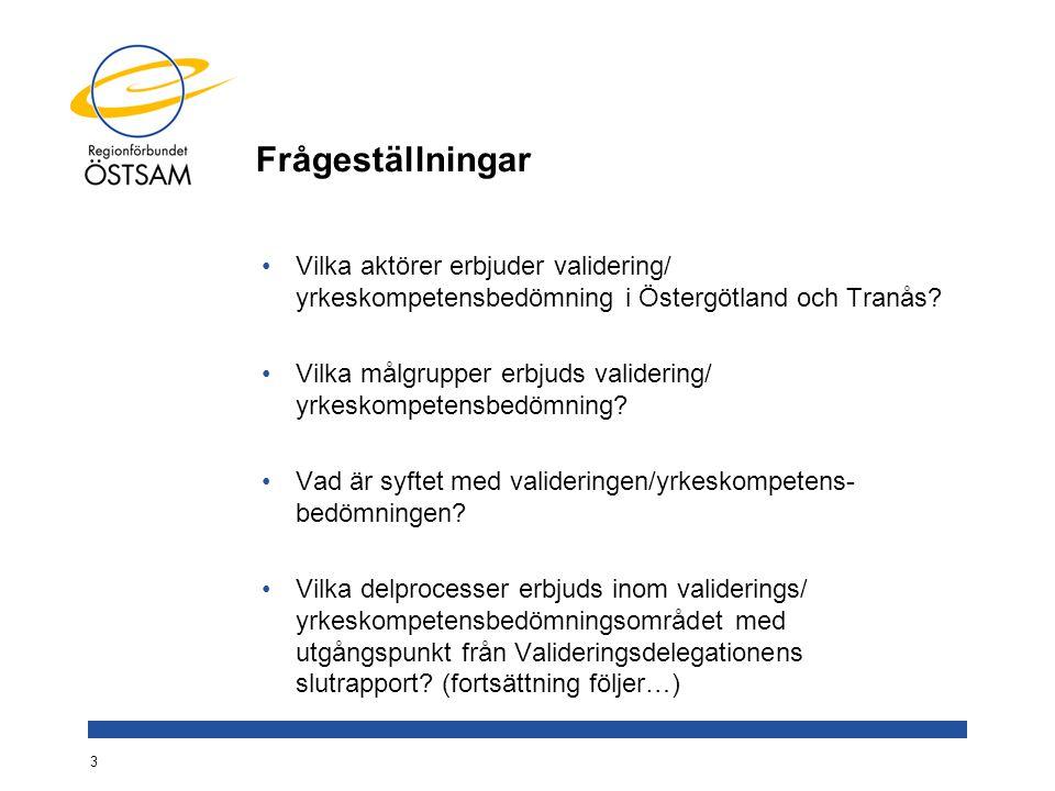 Frågeställningar Vilka aktörer erbjuder validering/ yrkeskompetensbedömning i Östergötland och Tranås